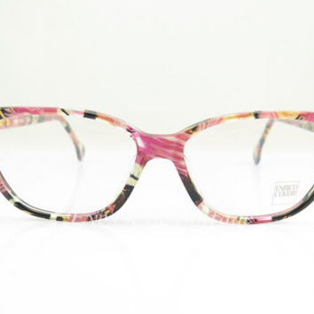 Enrico Coveri , Vintage Eyeglasses , Pink Brown Black and Transparent , Sunglass , shades , Multicolor , Cat Eye , Kitty , Frames , NOS