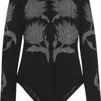 Topshop Unique - Embroidered stretch-mesh bodysuit