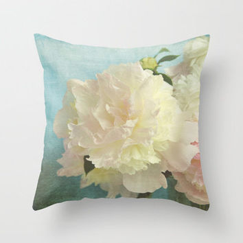 pale pink peony Throw Pillow by Sylvia Cook Photography | Society6