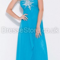 A-line One Shoulder Chiffon Floor-length Blue Beading Evening Dress at dressestore.co.uk