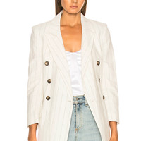 L'AGENCE Brea Double Breasted Blazer in Ivory & Black | FWRD