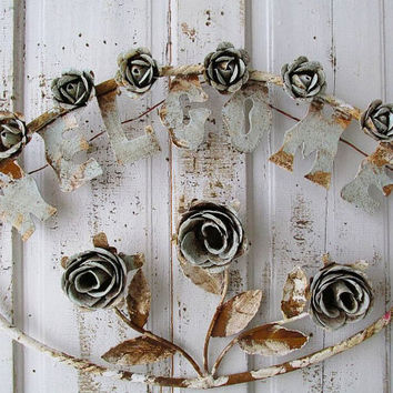 Metal toleware rose welcome sign shabby cottage chic rusty blue white wall decor hand cut forged huge cabbage rose heads Anita Spero Design