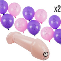 PartyFuFu Bachelorette Party Set 26 Inch Inflatable Penis with EXTRA 20 Purple and Pink Balloons