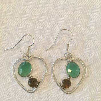 Heart green onyx sterling silver earrings
