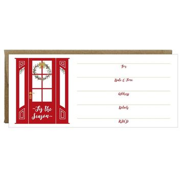 Red Door with Wreath Tis the Season Fill-in Invitations 10 Pack