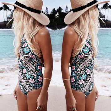 DCCKHQ6 Fashion Printed Triangle One Piece Swimwear
