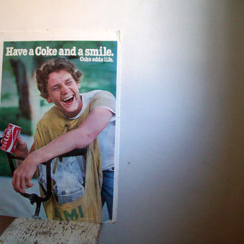 Vintage Coca Cola poster Have a Coke and a Smile Coke adds life Miami newspaper boy on bike 1970s collectable poster