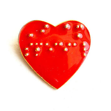 Vintage Braille Heart Brooch I Am Special Red Enamel Gold Tone Visually Impaired Gift
