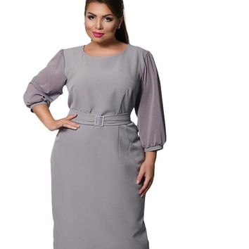 fiona sheer Plus Size Dress Elegant Loose Evening party grey gray black mesh midi Belt