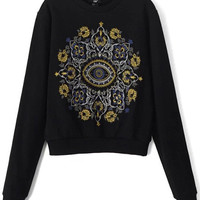 Black Embroidered Knitted Sweater