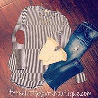 Striped Hi-Low Top with Elbow Patches Top!! 3rd RESTOCK!!