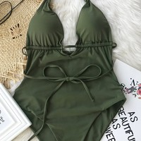 Cupshe Beach Guideline Backless One-piece Swimsuit