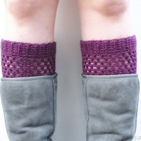 Crochet Boot Cuffs in Eggplant, wool blend, ready to ship.