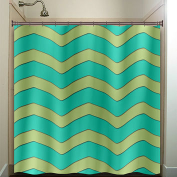 large chartreuse aqua chevron shower curtain bathroom decor fabric kids bath white black custom duvet cover rug mat window