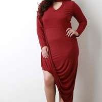 Mock Neck Keyhole Asymmetrical Drape Hem Dress
