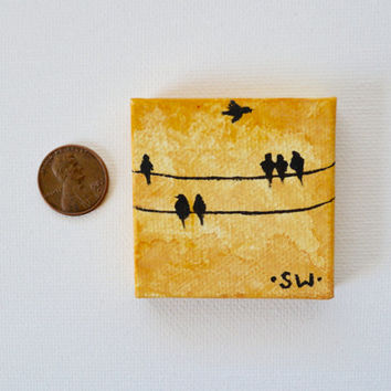 "Tiny art, Miniature, birds on a wire, Miniature Original Oil Painting, Dollhouse Art, American Girl Doll, 2"", mustard yellow"
