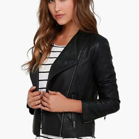 Black Zip-up Flip Collar Leather Jacket