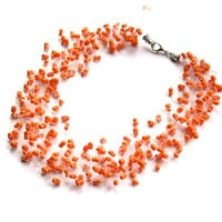 Orange Necklace. Wedding Necklace. Bridal Necklace. Bridesmaid Necklace. Beadwork.