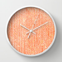Stockinette Orange Wall Clock by Elisa Sandoval