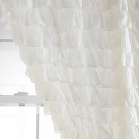 WHITE Ruffle Shower Curtain, Egyptian Cotton 1000 Thread Count