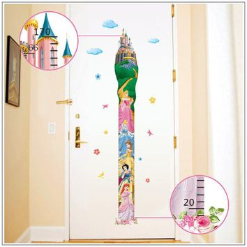 Height Measure fairy tale princess Wall Stickers For Kids Rooms girls boys Rooms DIY Home decoration Wall Decals Poster Mural