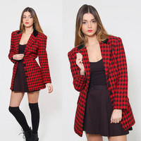 Vintage 80s HOUNDSTOOTH Jacket Black & Red Checker Jacket CLUELESS Jacket Long Blazer
