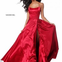 Sherri Hill 51631 Gorgeous Satin Gown with Open Back