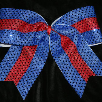 Royal blue and red sequin cheer bow texas by SpiritCheerBows211