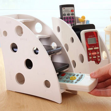 Wood-plastic Plate Remote Control Household Organiser Stand Holder Durable Caddy Storage Couch DVD Box Two Functions