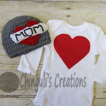 Mother's Day Baby Bodysuit Baby Bodysuit and Hat MOM Tattoo Crochet Hat, Mothers Day Hat, Newborn Photo Prop,Infant Boys Heart Bodysuit Hat
