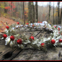 holly berry crown, christmas, Flower Headband, berry, vine, flower girl, winter, head piece, wreath, Headband, ivy, renaissance,