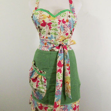 Women's Full Towel Apron--Green Towel with Butterfly Fabric -Made in the USA---#94