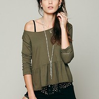 Free People Womens We The Free Solid Peplum Tee