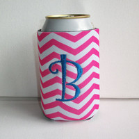 Monogrammed Custom Can pink white chevron Koozie -  Personalized Embroidered Monogram Coozie - gift for her drink holder