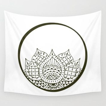 Henna Lotus Tapestry Wall Hanging Meditation Yoga Hippie