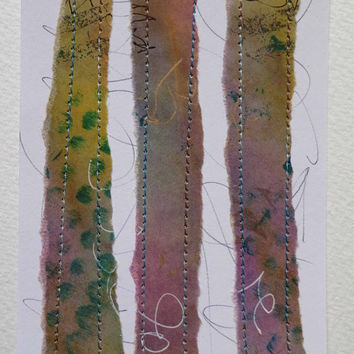 Collage, Original, OOAK Colour Study, Collage with Stitch, Textile Art, Fibre Art, Paper, Unique,