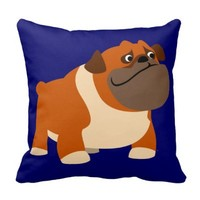 Cute Cartoon English Bulldog Pillow