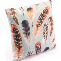 Plumas Pillow | Feathers Printed On A Sky Blue Background
