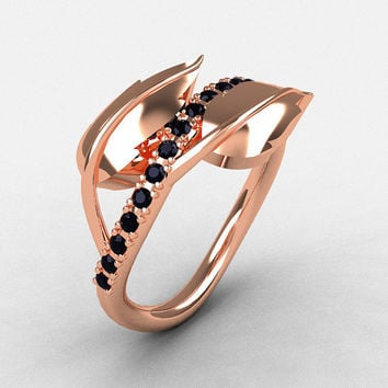 14K Rose Gold Black Diamond Leaf and Vine Wedding Ring, Engagement Ring NN113-14KRGBD