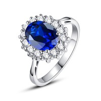 Sterling Silver 2.5 Carats Oval Sapphire Engagement Ring