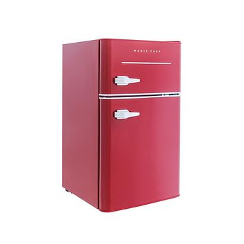 Black,Red, Blue, Pink Retro 3.2 Cu. Ft. Double 2 Door Small Mini Compact Dorm Room Refrigerator