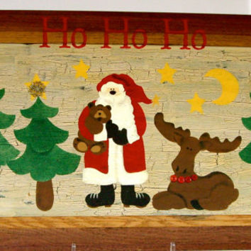 christmas santa recycled handpainted wall art CIJ
