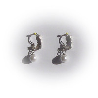 Set of Faux Silver Pearl Pierced Earrings with Cut Crystal Accent Stone