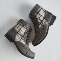 Hike Through Hollywood Bootie in Grey Plaid