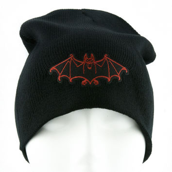 Red Vampire Bat Beanie Occult Halloween Clothing Knit Cap