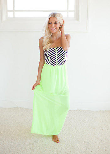 pelling Tube Top Maxi Dress in Neon from Modern Vintage #1: full size