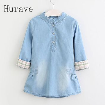 Fashion Knee-length Girls Dress Baby Dress Kids Jeans Dresses Children Embroidery Spring Cowboy