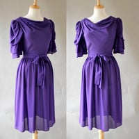 Vintage Sheer Purple Fit and Flare Dress