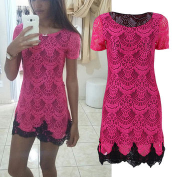 Slim Women A-line Dress Sexy Red Hollow Out lace Dresses Casual Short Sleeve Mini Dess Vestido