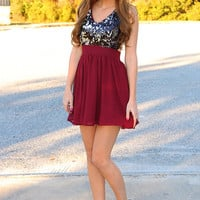 Be Jeweled Sparkle Dress: Burgundy/Metallic